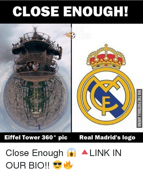 Eiffel Towered: CLOSE ENOUGH!  Eiffel Tower 360° pic  Real Madrid's logo Close Enough 😱 🔺LINK IN OUR BIO!! 😎🔥
