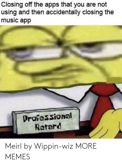 Dank, Memes, and Music: Closing off the apps that you are not  using and then accidentally closing the  music app  Professional  Retard Meirl by Wippin-wiz MORE MEMES