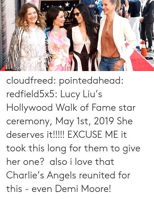 demi: cloudfreed: pointedahead:  redfield5x5: Lucy Liu's Hollywood Walk of Fame star ceremony, May 1st, 2019 She deserves it!!!!!  EXCUSE ME it took this long for them to give her one?  also i love that Charlie's Angels reunited for this - even Demi Moore!