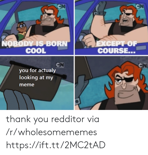 Redditor: CN  CN  NOBODY IS BORN  COOL  ЕXСЕРТ OF  COURSE...  CN  you for actualy  looking at my  CN  meme thank you redditor via /r/wholesomememes https://ift.tt/2MC2tAD