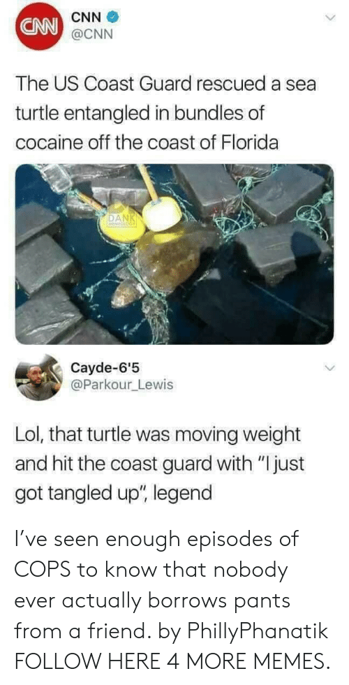 """cnn.com, Dank, and Lol: CNN  CNN  @CNN  The US Coast Guard rescued a sea  turtle entangled in bundles of  cocaine off the coast of Florida  DAN  Cayde-6'5  @Parkour_Lewis  Lol, that turtle was moving weight  and hit the coast guard with """"Ijust  got tangled up"""", legend I've seen enough episodes of COPS to know that nobody ever actually borrows pants from a friend. by PhillyPhanatik FOLLOW HERE 4 MORE MEMES."""
