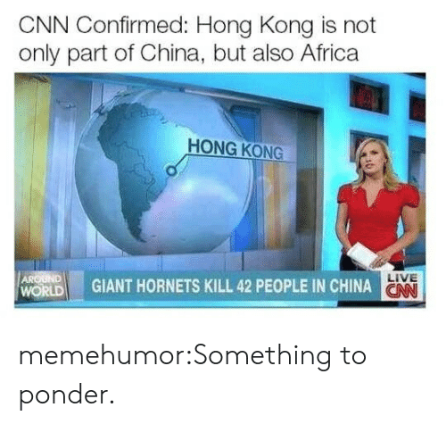 Africa, cnn.com, and Tumblr: CNN Confirmed: Hong Kong is not  only part of China, but also Africa  HONG KONG  ! GIANT HORNETS KILL 42 PEOPLE IN CHINA  LIVE  ON  WORLD memehumor:Something to ponder.