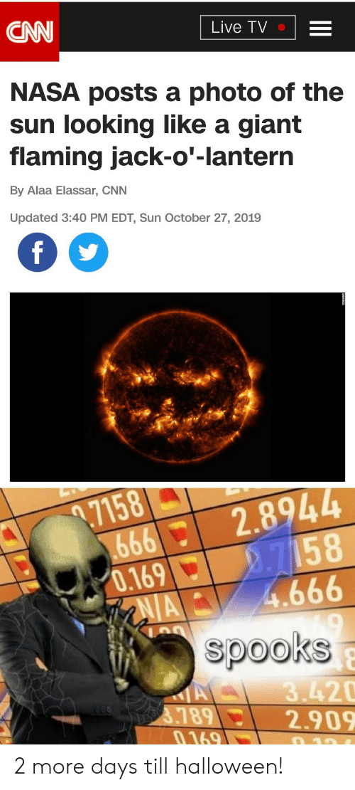 Cnn Live: CNN  Live TV  NASA posts a photo of the  sun looking like a giant  flaming jack-o'-lantern  By Alaa Elassar, CNN  Updated 3:40 PM EDT, Sun October 27, 2019  f  .7158  666  0.169  AIA  2.8944  2.7158  4.666  spooks  A  3789  0.169  3.420  2.909  10 2 more days till halloween!