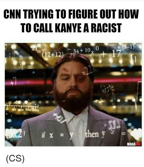 cnn.com, Kanye, and Memes: CNN TRYING TO FIGURE OUT HOW  TO CALL KANYE A RACIST  t 10, 0  17  (12+12)  MAGA (CS)