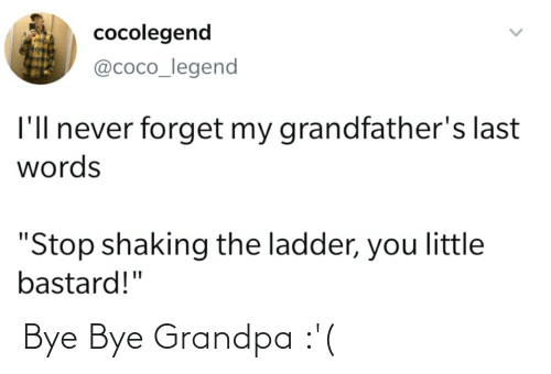 """Last Words: cocolegend  @coco_legend  I'll never forget my grandfather's last  words  """"Stop shaking the ladder, you little  bastard!"""" Bye Bye Grandpa :'("""