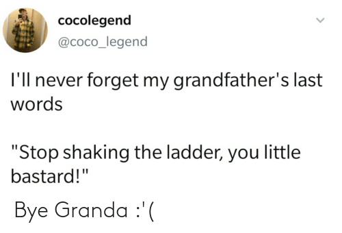 """Last Words: cocolegend  @coco_legend  I'll never forget my grandfather's last  words  """"Stop shaking the ladder, you little  bastard!"""" Bye Granda :'("""