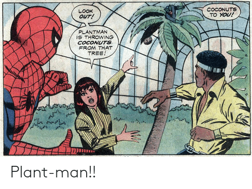 Tree, Man, and You: COCONUTS  TO YOU!  LOOK  OUT!  PLANTMAN  IS THROWING  COCONUTS  FROM THAT  TREE Plant-man!!