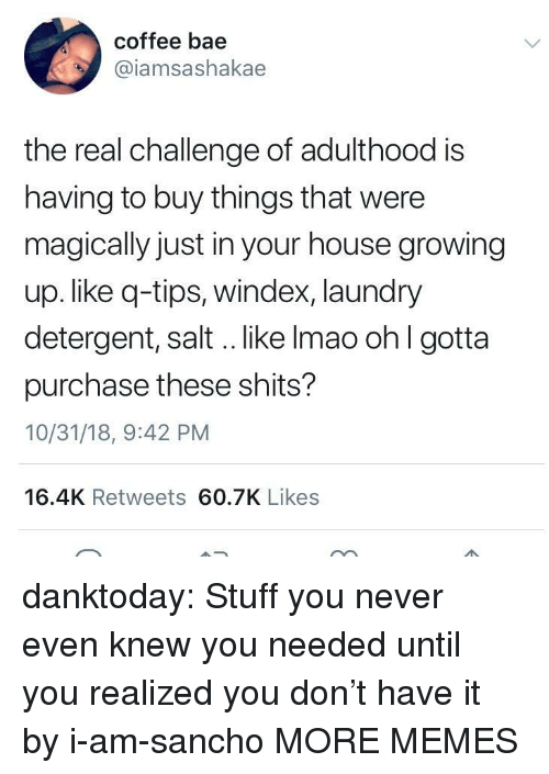 Bae, Dank, and Growing Up: coffee bae  @iamsashakae  the real challenge of adulthood is  having to buy things that were  magically just in your house growing  up. like q-tips, windex, laundry  detergent, salt .. like Imao ohl gotta  purchase these shits?  10/31/18, 9:42 PM  16.4K Retweets 60.7K Likes danktoday:  Stuff you never even knew you needed until you realized you don't have it by i-am-sancho MORE MEMES