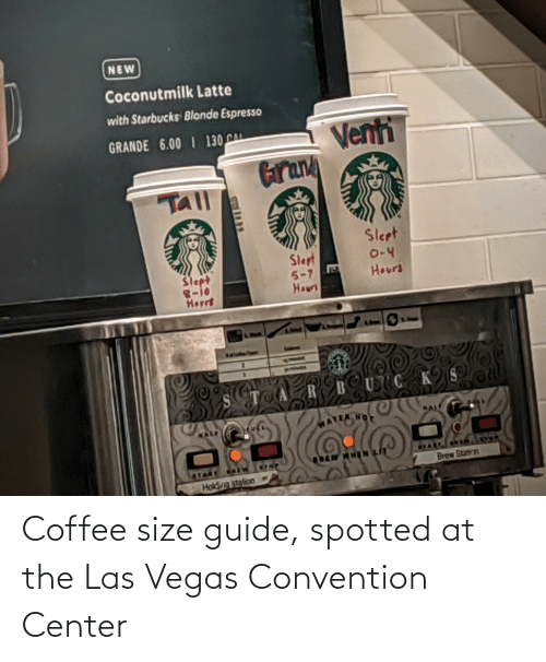 convention: Coffee size guide, spotted at the Las Vegas Convention Center