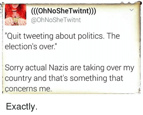 "Memes, Quite, and 🤖: (COhNoSheTwitnt)))  @OhNoShe Twitnt  ""Quit tweeting about politics. The  election's over.""  Sorry actual Nazis are taking over my  country and that's something that  Concerns me. Exactly."