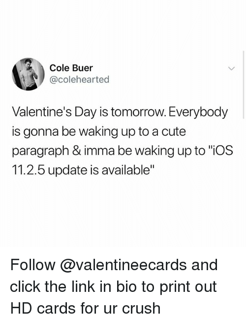 "Click, Crush, and Cute: Cole Buer  @colehearted  Valentine's Day is tomorrow. Everybody  is gonna be waking up to a cute  paragraph & imma be waking up to ""ios  11.2.5 update is available"" Follow @valentineecards and click the link in bio to print out HD cards for ur crush"