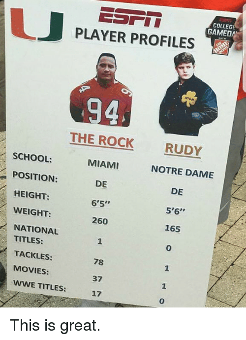 """College, Movies, and School: COLLEGE  GAMED  PLAYER PROFILES  RISH  THE ROCK  MIAMI  DE  6'5""""  260  RUDY  SCHOOL:  POSITION:  HEIGHT:  WEIGHT:  NATIONAL  NOTRE DAME  DE  5'6""""  165  0  TITLES:  TACKLES:  MOVIES:  WWE TITLES:  78  37  17  1  0 This is great."""