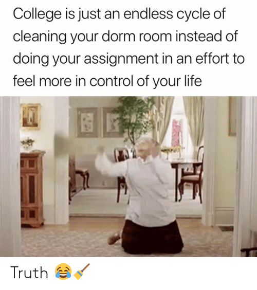 College, Life, and Control: College is just an endless cycle of  cleaning your dorm room instead of  doing your assignment in an effort to  feel more in control of your life Truth 😂🧹