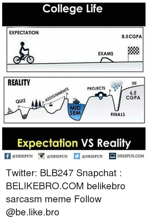 Be Like, College, and Finals: College Life  EXPECTATION  8.5CGPA  EXAMS  REALITY  PROJECTS  6.5  CGPA  QUIZ  MID  SEM  FINALS  Expectation VS Reality  K @DESIFUN @DESIFUN @DESIFUN םDESIFUN.COM Twitter: BLB247 Snapchat : BELIKEBRO.COM belikebro sarcasm meme Follow @be.like.bro