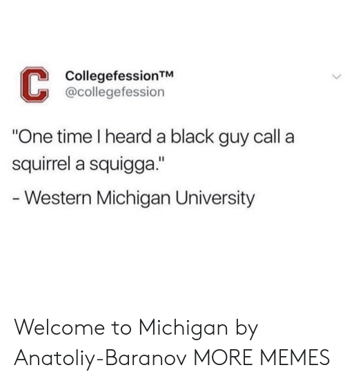 "Dank, Memes, and Target: CollegefessionTM  @collegefession  One time I heard a black guy call a  squirrel a squigga.""  - Western Michigan University Welcome to Michigan by Anatoliy-Baranov MORE MEMES"