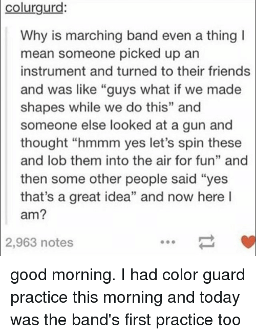 """Color Guard: colurgurd:  Why is marching band even a thing I  mean someone picked up an  instrument and turned to their friends  and was like """"guys what if we made  shapes while we do this"""" and  someone else looked at a gun and  thought """"hmmm yes let's spin these  and lob them into the air for fun"""" and  then some other people said """"yes  that's a great idea"""" and now here l  am?  2,963  notes good morning. I had color guard practice this morning and today was the band's first practice too"""