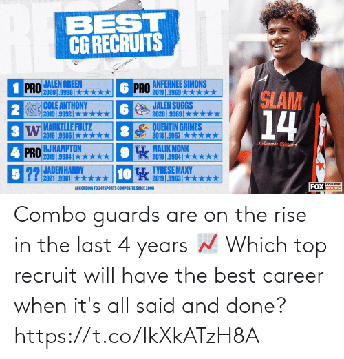Its: Combo guards are on the rise in the last 4 years 📈   Which top recruit will have the best career when it's all said and done? https://t.co/IkXkATzH8A