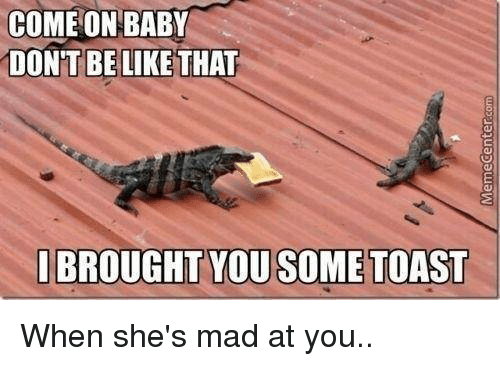 Memes, Don't Be Like, and Toast: COME ON BABY  DONT BE LIKE THAT  I BROUGHT YOU SOME TOAST When she's mad at you..