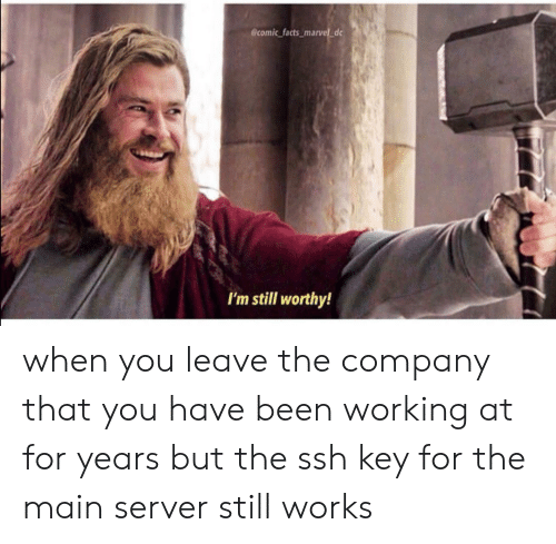 Facts, Marvel, and Been: @comic facts_marvel d  I'm still worthy! when you leave the company that you have been working at for years but the ssh key for the main server still works