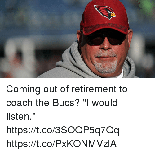 """Memes, 🤖, and Coach: Coming out of retirement to coach the Bucs?  """"I would listen."""" https://t.co/3SOQP5q7Qq https://t.co/PxKONMVzlA"""