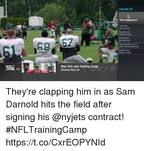 kuechly: COMING UP  LIVE from  Jets practice  Report fronm  Patriots camp  Drew Brees  joins the set  Luke Kuechly 1-on-1  with Tiffany Blackmon  Report from  Raiders camp  SIDE-  RAINING  New York Jets Training Camp  Florham Park, NJ  CAMP They're clapping him in as Sam Darnold hits the field after signing his @nyjets contract! #NFLTrainingCamp https://t.co/CxrEOPYNId