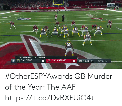 Sports, San Antonio, and San Diego: COMMANDER  32  11 M. BERCOVICI 2/2, 50 YDS  ) e) SAN DIEGO  O SAN ANTONIO  0 1ST 10:50 11 1ST & 10 #OtherESPYAwards  QB Murder of the Year: The AAF https://t.co/DvRXFUiO4t