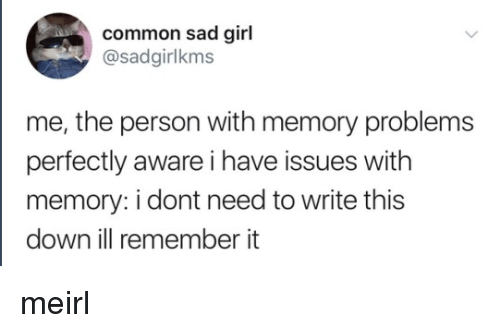 Common, Girl, and Sad: common sad girl  @sadgirlkms  me, the person with memory problems  perfectly aware i have issues with  memory: i dont need to write this  down ill remember it meirl