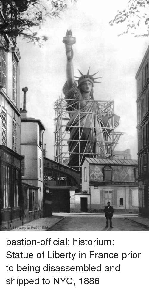 Target, Tumblr, and Blog: COMPH SUC  tatue  de of tiberty in Paris 18 bastion-official:  historium: Statue of Liberty in France prior to being disassembled and shipped to NYC, 1886