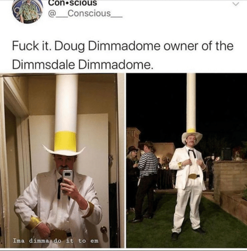 Doug: Con scious  @Conscious  Fuck it. Doug Dimmadome owner of the  Dimmsdale Dimmadome.  Ima dimma do it to em
