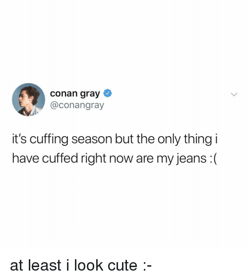 Cute, Relatable, and Conan: conan gray  @conangray  it's cuffing season but the only thing i  have cuffed right now are my jeans :( at least i look cute :-