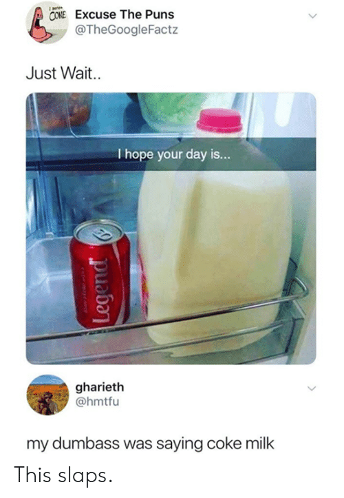 Dank, Puns, and Hope: CONE Excuse The Puns  @TheGoogleFactz  Just Wait.  I hope your day is  ...  gharieth  @hmtfu  my dumbass was saying coke milk This slaps.