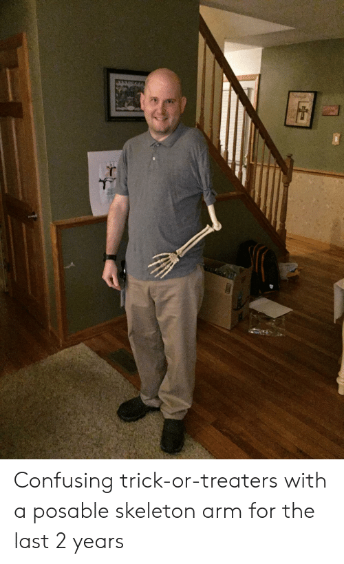 Arm, For, and Skeleton: Confusing trick-or-treaters with a posable skeleton arm for the last 2 years