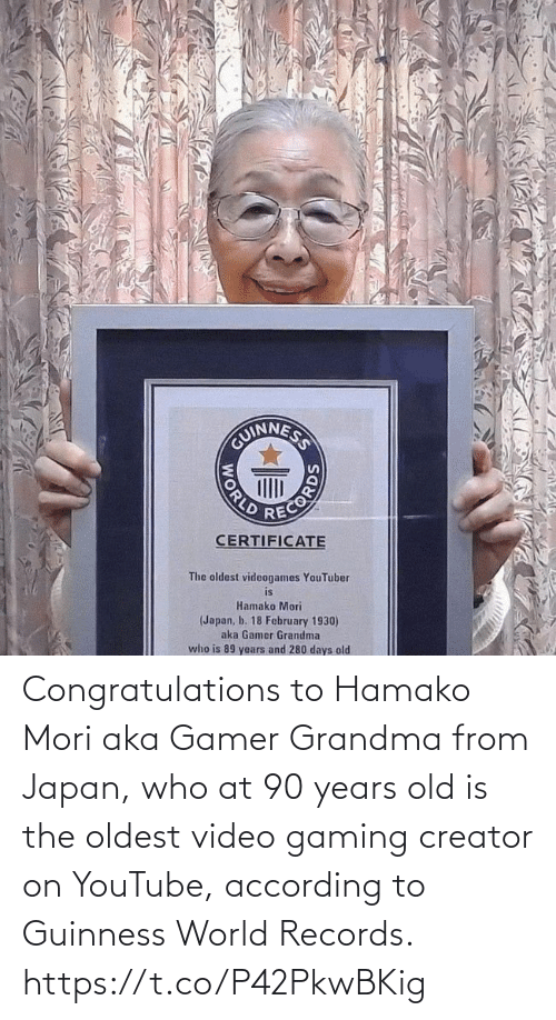 According: Congratulations to Hamako Mori aka Gamer Grandma from Japan, who at 90 years old is the oldest video gaming creator on YouTube, according to Guinness World Records. https://t.co/P42PkwBKig