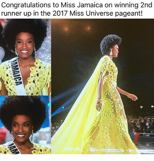Miss Universe: Congratulations to Miss Jamaica on winning 2nd  runner up in the 2017 Miss Universe pageant!