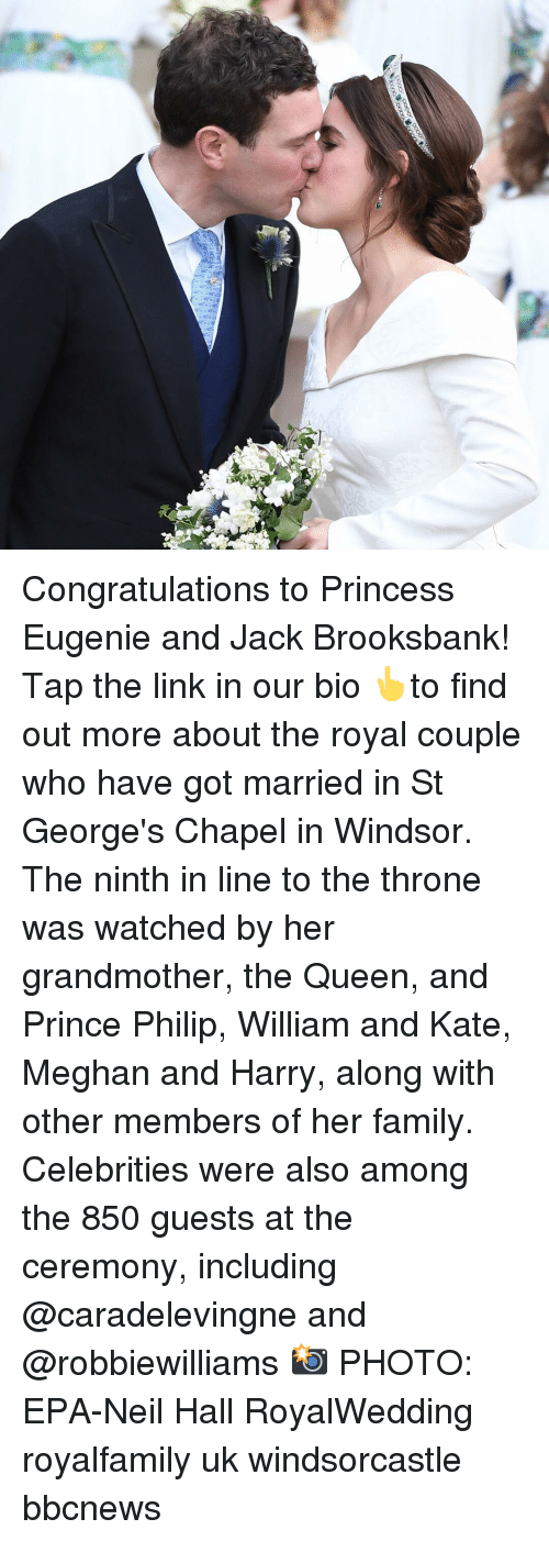 epa: Congratulations to Princess Eugenie and Jack Brooksbank! Tap the link in our bio 👆to find out more about the royal couple who have got married in St George's Chapel in Windsor. The ninth in line to the throne was watched by her grandmother, the Queen, and Prince Philip, William and Kate, Meghan and Harry, along with other members of her family. Celebrities were also among the 850 guests at the ceremony, including @caradelevingne and @robbiewilliams 📸 PHOTO: EPA-Neil Hall RoyalWedding royalfamily uk windsorcastle bbcnews