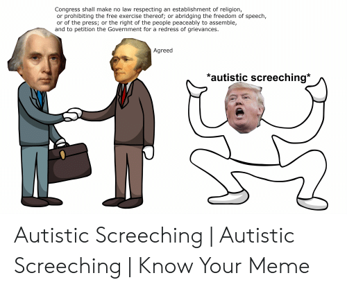 Meme, Exercise, and Free: Congress shall make no law respecting an establishment of religion,  or prohibiting the free exercise thereof; or abridging the freedom of speech,  or of the press; or the right of the people peaceably to assemble,  and to petition the Government for a redress of grievances.  Agreed  *autistic screeching Autistic Screeching | Autistic Screeching | Know Your Meme