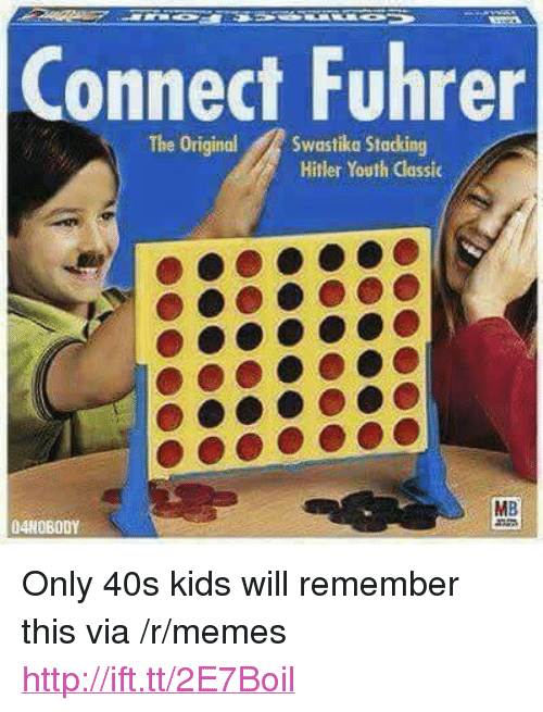 """Memes, Hitler, and Http: Connect Fuhrer  The OriginalSwastika Stacking  Hitler Youth Classic  MB  04NOBODY <p>Only 40s kids will remember this via /r/memes <a href=""""http://ift.tt/2E7Boil"""">http://ift.tt/2E7Boil</a></p>"""