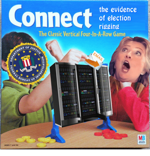 Game, Election, and Evidence: Connect  the evidence  of election  rigging  The Classic Vertical Four-In-A-Row Game  T OF JUS  BUREAU  131111  MB  MILTON  BRADLEY  AGES 7 and Up