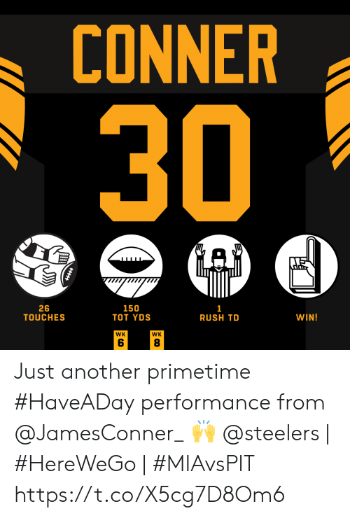 Performance: CONNER  30  GAD  26  TOUCHES  150  ТOт YDS  1  RUSH TD  WIN!  WK  WK  CO  ב  HHtt Just another primetime #HaveADay performance from @JamesConner_ 🙌  @steelers | #HereWeGo | #MIAvsPIT https://t.co/X5cg7D8Om6