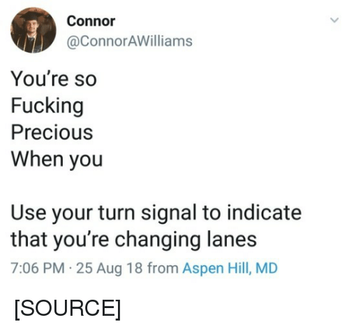 Precious, Tumblr, and Aspen: Connor  @ConnorAWilliams  You're so  Fucking  Precious  When you  Use your turn signal to indicate  that you're changing lanes  7:06 PM 25 Aug 18 from Aspen Hill, MD [SOURCE]
