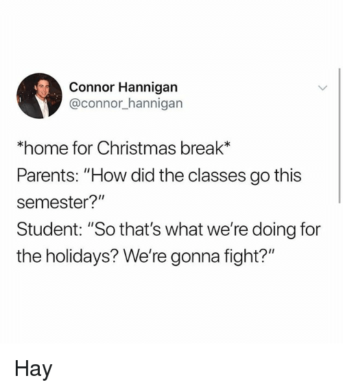 """Christmas, Memes, and Parents: Connor Hannigan  @connor_hannigarn  *home for Christmas break*  Parents: """"How did the classes go this  semester?""""  Student: """"So that's what we're doing for  the holidays? We're gonna fight?"""" Hay"""