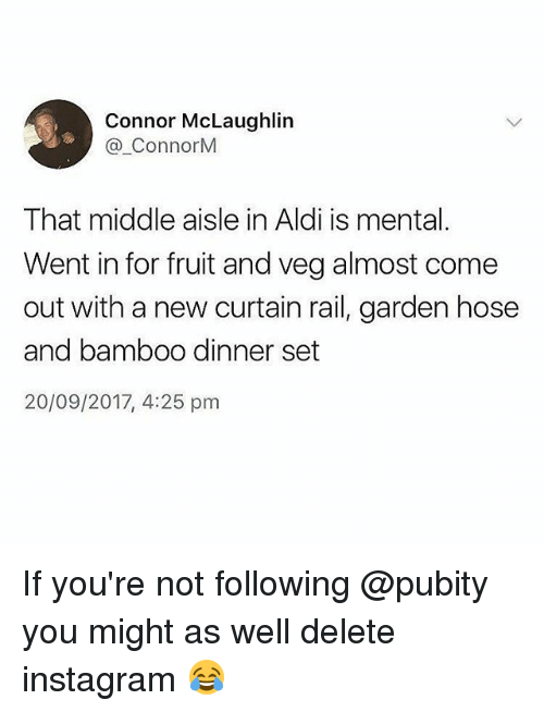 Instagram, Memes, and Aldi: Connor McLaughlin  @.ConnorM  That middle aisle in Aldi is mental.  Went in for fruit and veg almost come  out with a new curtain rail, garden hose  and bamboo dinner set  20/09/2017, 4:25 pm If you're not following @pubity you might as well delete instagram 😂