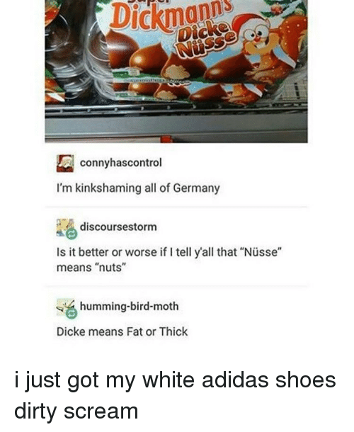 """Adidas, Shoes, and Tumblr: conny hascontrol  I'm kinkshaming all of Germany  discourses torm  Is it better or worse if tell y'all that """"Nusse""""  means """"nuts""""  humming-bird-moth  Dicke means Fat or Thick i just got my white adidas shoes dirty scream"""