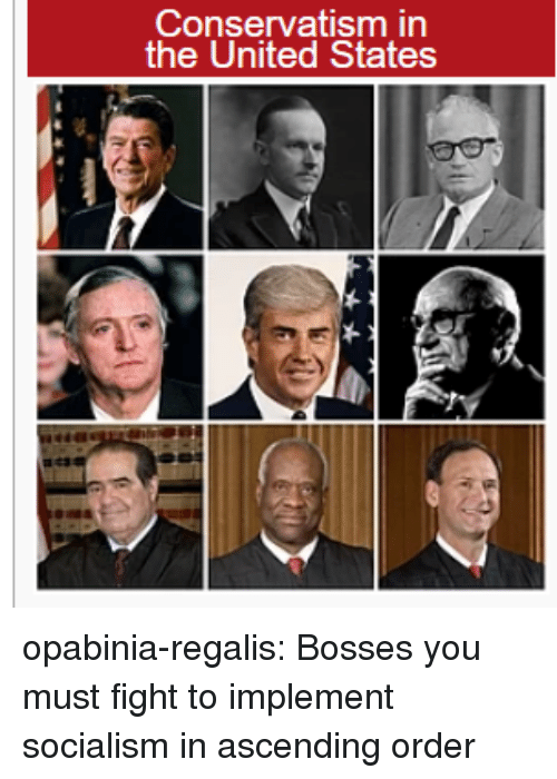 Conservatism: Conservatism in  the United States opabinia-regalis:  Bosses you must fight to implement socialism in ascending order