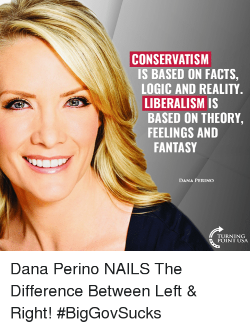 Conservatism: CONSERVATISM  IS BASED ON FACTS,  LOGIC AND REALITY  LIBERALISM IS  BASED ON THEORY,  FEELINGS AND  FANTASY  DANA PERINO  TURNING  POINT USA Dana Perino NAILS The Difference Between Left & Right! #BigGovSucks