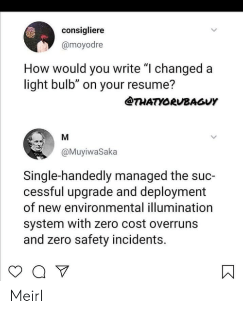 "Zero, Resume, and MeIRL: consigliere  @moyodre  How would you write ""I changed a  light bulb"" on your resume?  THATYORUBAGUY  M  @MuyiwaSaka  Single-handedly managed the suc-  cessful upgrade and deployment  of new environmental illumination  system with zero cost overruns  and zero safety incidents.  > Meirl"