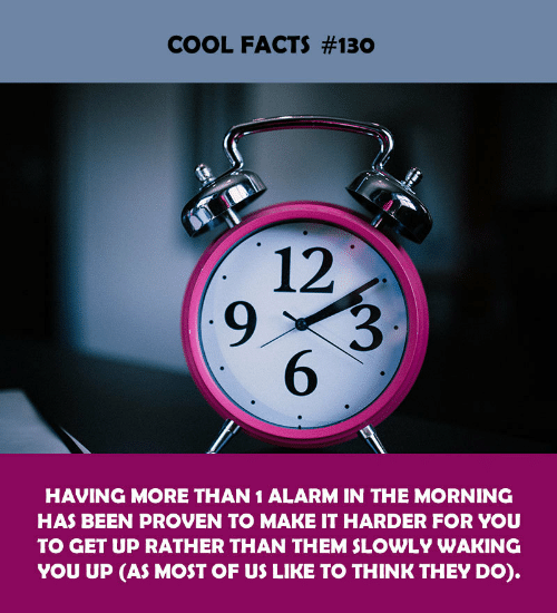 Facts, Alarm, and Cool: COOL FACTS #130  12  9  6  HAVING MORE THAN 1 ALARM IN THE MORNING  HAS BEEN PROVEN TO MAKE IT HARDER FOR YOU  TO GET UP RATHER THAN THEM SLOWLY WAKING  YOU UP (AS MOST OF US LIKE TO THINK THEY DO).