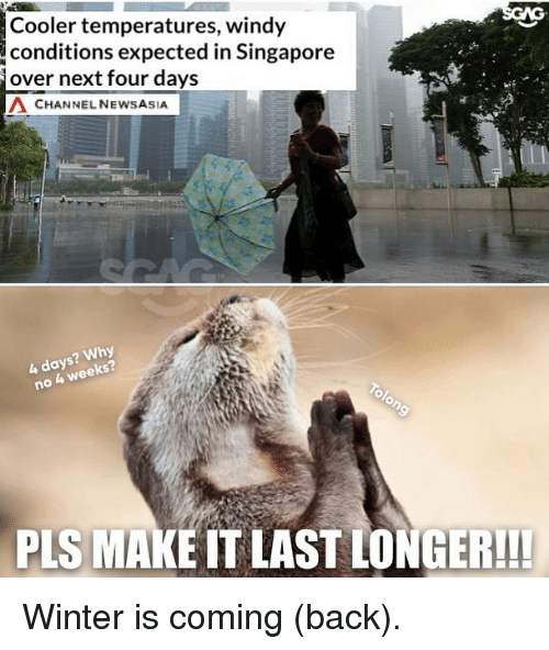 Memes, Winter, and Singapore: Cooler temperatures, windy  conditions expected in Singapore  over next four days  Λ CHANNEL NEWSASIA  ? Why  4 week  PLS MAKE IT LAST LONGER!!! Winter is coming (back).