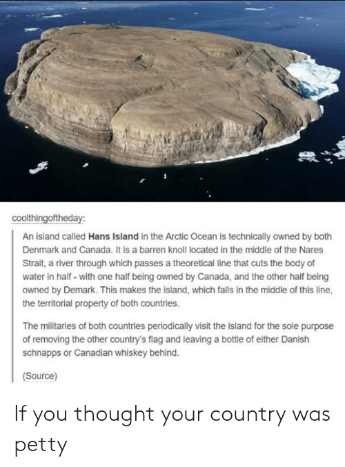 periodically: coolthingoftheday:  An island called Hans Island in the Arctic Ocean is technically owned by both  Denmark and Canada. It is a barren knoll located in the middle of the Nares  Strait, a river through which passes a theoretical line that cuts the body of  water in half- with one half being owned by Canada, and the other half being  owned by Demark. This makes the island, which falls in the middle of this line,  the territorial property of both countries.  The militaries of both countries periodically visit the island for the sole purpose  of removing the other country's flag and leaving a bottle of either Danish  schnapps or Canadian whiskey behind.  Source) If you thought your country was petty