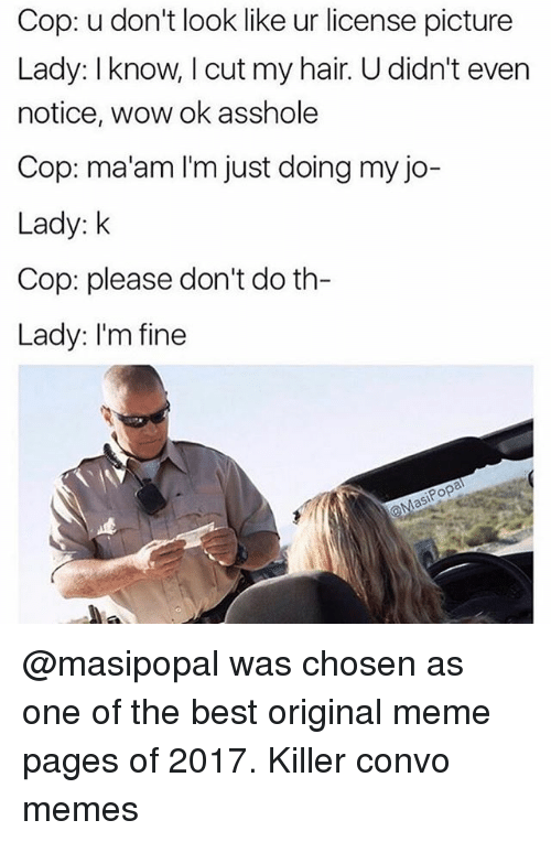 Funny, Meme, and Memes: Cop: u don't look like ur license picture  Lady: I know, I cut my hair. U didn't even  notice, wow ok asshole  Cop: ma'am I'm just doing my jo-  Lady: k  Cop: please don't do th-  Lady: I'm fine @masipopal was chosen as one of the best original meme pages of 2017. Killer convo memes